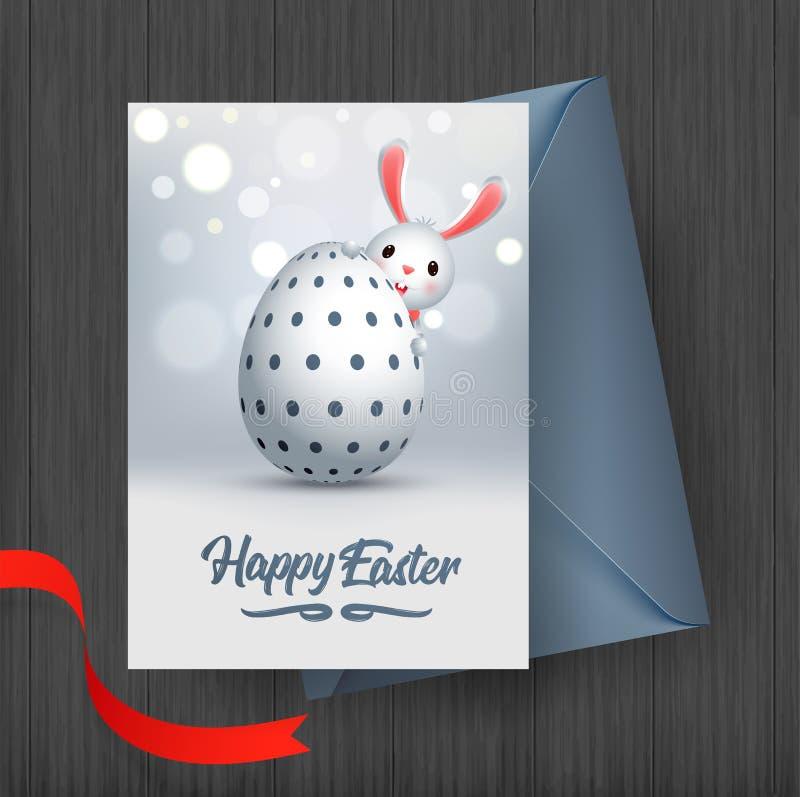 Het gelukkige Pasen-ontwerp van de groetkaart, illustratie van leuk weinig konijntje met paaseieren stock illustratie