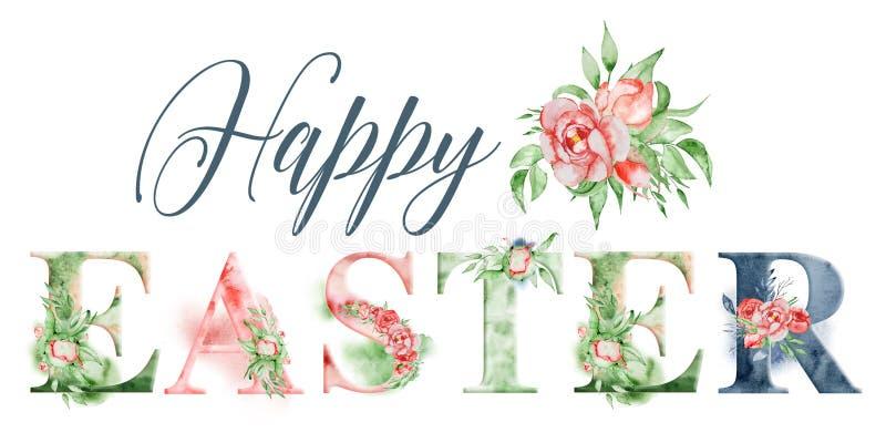 Het gelukkige Pasen-ontwerp van het waterverfwoord met bloemenboeketten en kroon Hand het getrokken van letters voorzien, typogra royalty-vrije illustratie