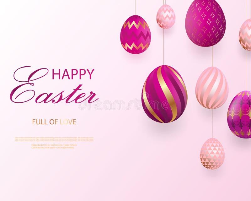 Het gelukkige Pasen-van letters voorzien met roze gouden realistische het kijken eieren Vector Geometrische patronen De groetkaar stock illustratie