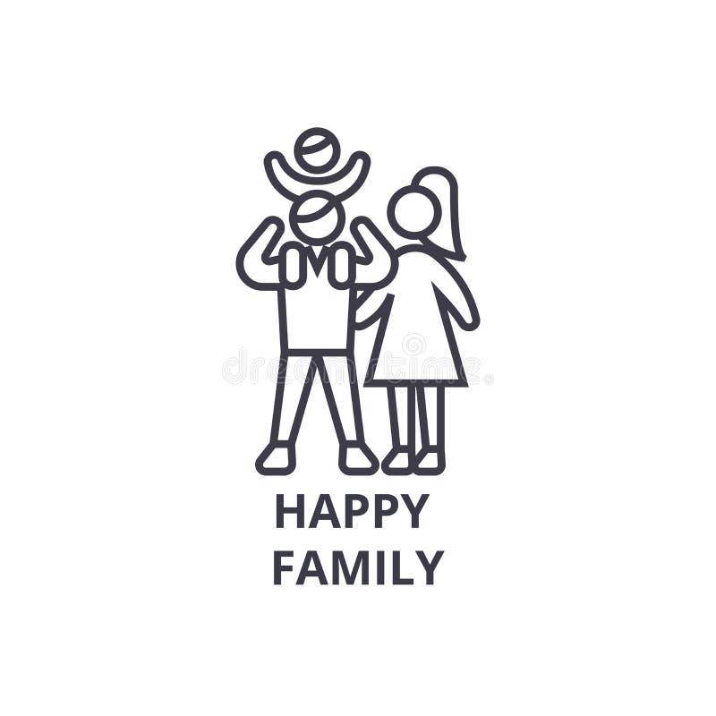 Het gelukkige pictogram van de familie dunne lijn, teken, symbool, illustation, lineair concept, vector royalty-vrije illustratie