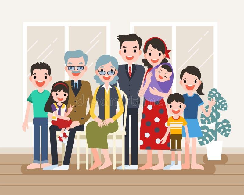 Het gelukkige Portret van de Familie vector illustratie