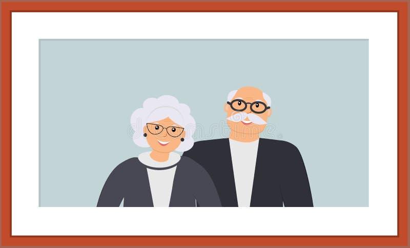 Het gelukkige portret van familieoudsten: leuke glimlachende bejaarde en vrouw op de lichtblauwe achtergrond in het houten bruine stock illustratie