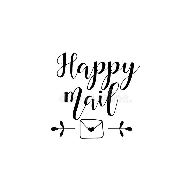 Het gelukkige post van letters voorzien De brief van de liefde met hart Malplaatje voor liefdekaarten en uitnodigingen Kalligrafi vector illustratie