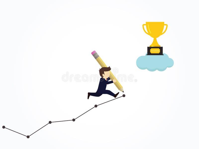 Het gelukkige potlood van het zakenmangebruik om zijn eigen grafiek aan succes te creëren vector illustratie