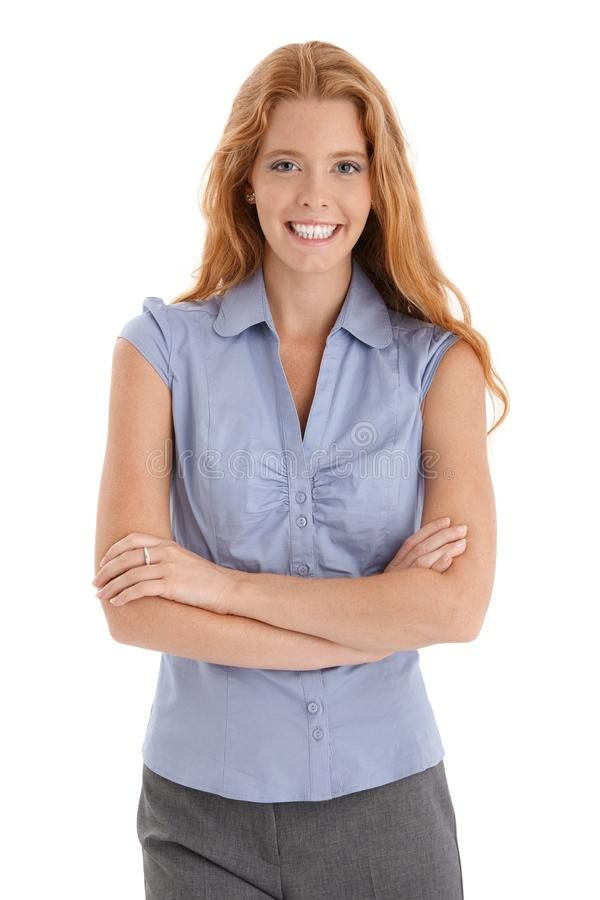 Het gelukkige redhead vrouw lachen stock fotografie