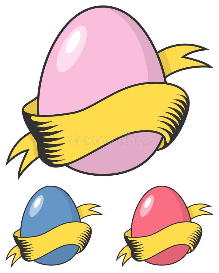 Het gelukkige Retro Ei van Pasen met Lint vector illustratie