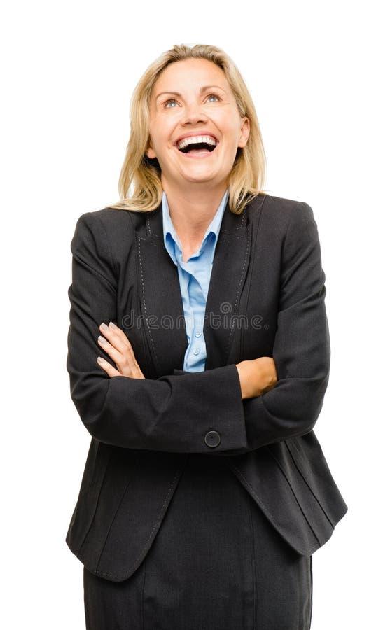 Het gelukkige rijpe bedrijfsvrouw lachen geïsoleerd op witte backgroun royalty-vrije stock afbeeldingen
