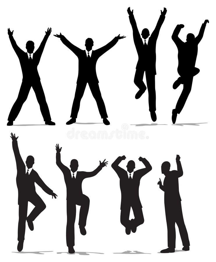 Het gelukkige silhouet van de sprongzakenman royalty-vrije illustratie
