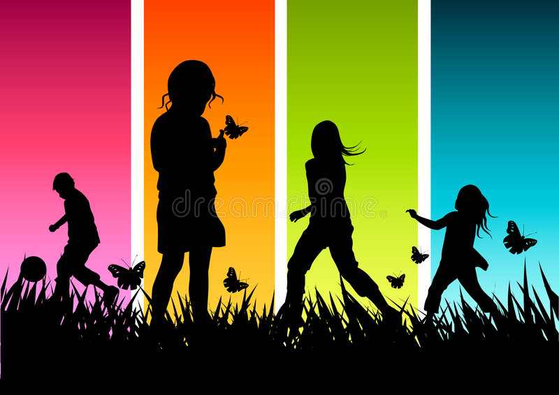 Het gelukkige Spelen van Kinderen royalty-vrije illustratie