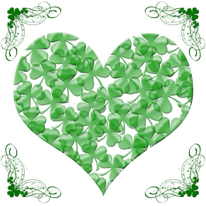 Het gelukkige St Patricks Hart van de Dag van de Bladeren van de Klaver stock illustratie