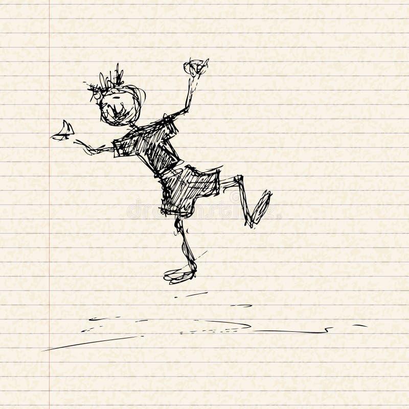 Download Het Gelukkige Stokjongen Spelen Op Een Pagina Vector Illustratie - Illustratie bestaande uit brief, kunstwerk: 54091207