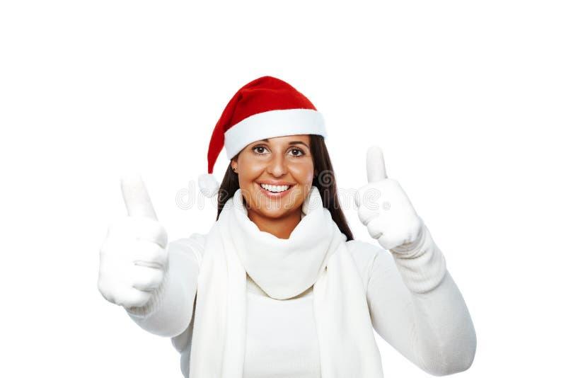 Het gelukkige succes van de Kerstmisvrouw royalty-vrije stock fotografie