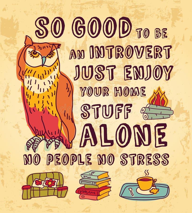 Het gelukkige teken van de de kunstkleur van het introvertconcept stock illustratie