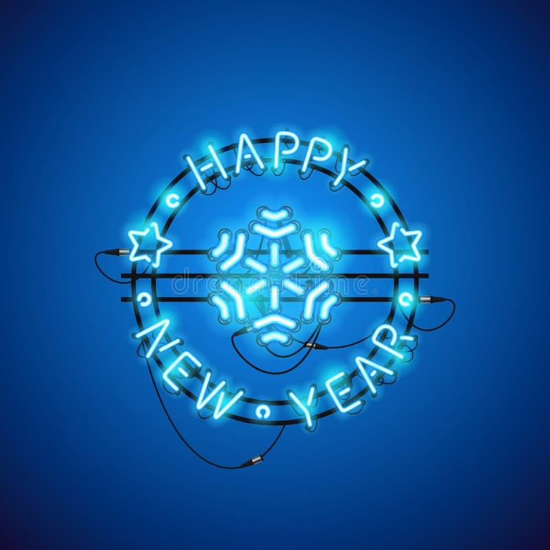 Het gelukkige Teken van het Nieuwjaar Blauwe Neon vector illustratie
