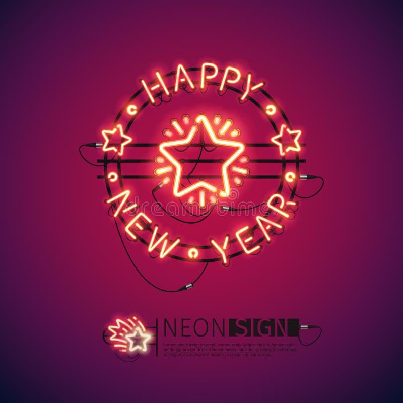 Het gelukkige Teken van het Nieuwjaar Rode Neon royalty-vrije illustratie