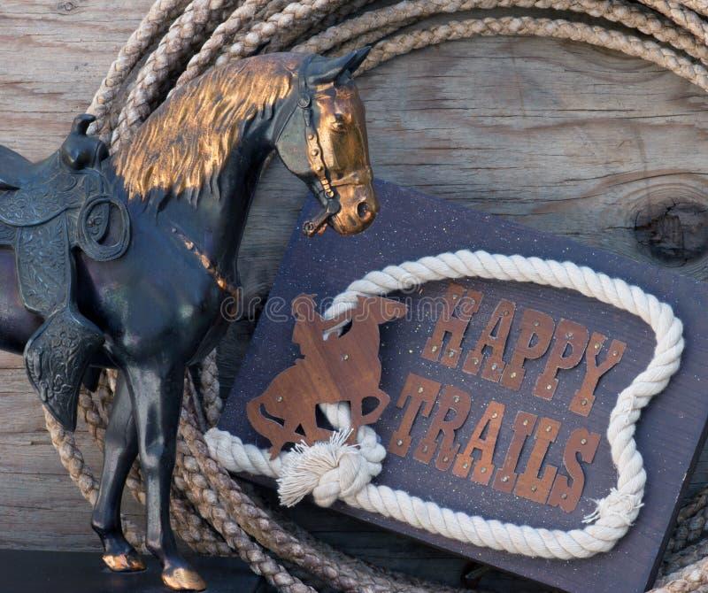 Het gelukkige teken van Slepen met paardstandbeeld royalty-vrije stock foto