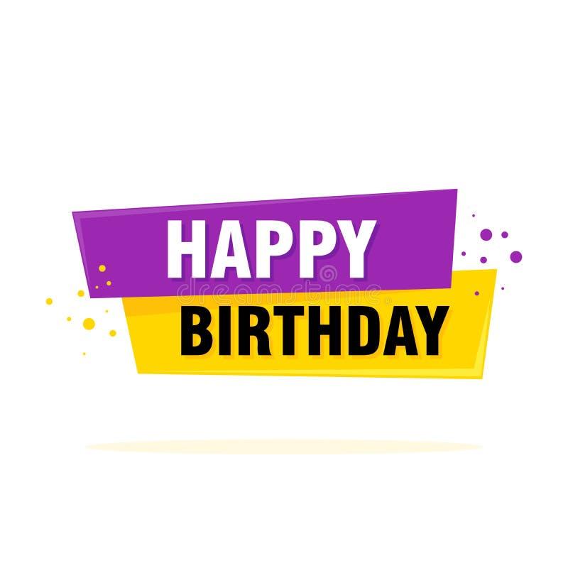 Het gelukkige teken van het verjaardagsetiket Het malplaatjevector van de Greatingskaart vector illustratie
