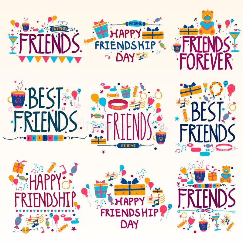 Het gelukkige Vakantie van de Vriendschapsdag en Festival dit wensen en groeten stock illustratie