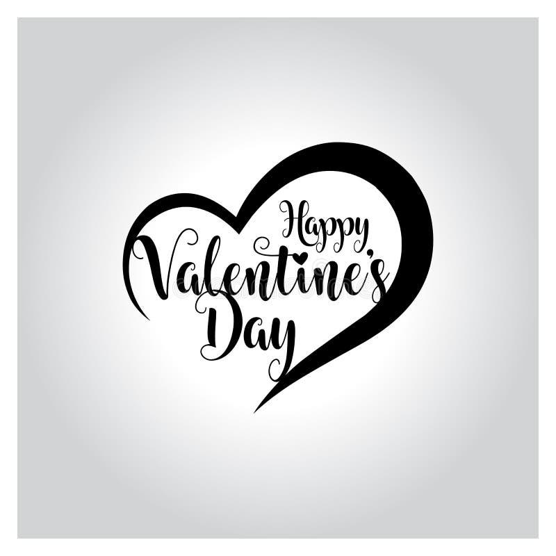 Het gelukkige valentijnskaartendag van letters voorzien, met de hand geschreven en kalligrafie vectorillustratie royalty-vrije illustratie