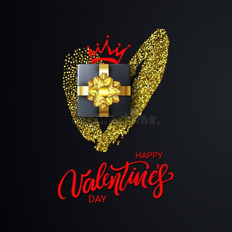 Het gelukkige Valentijnskaartendag Van letters voorzien met schittert Hart, Giftdoos en Kroon De vakantiebanner, affiche, voegt,  royalty-vrije illustratie