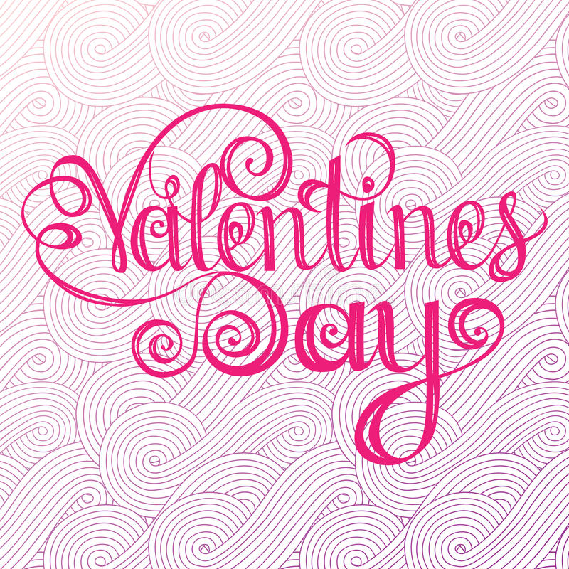Het gelukkige valentijnskaartendag Van letters voorzien, ontwerpelementen voor kaarten Rode, Roze Achtergrond met Ornamenten, Har royalty-vrije illustratie