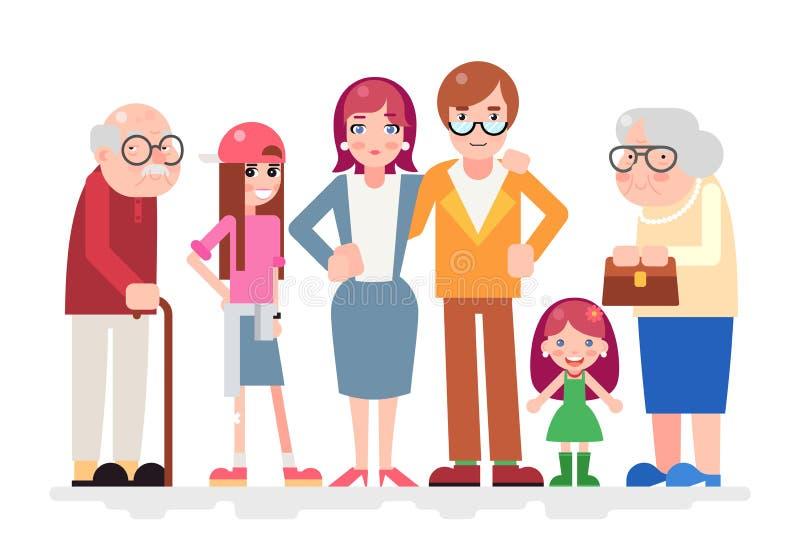 Het gelukkige van het de Liefde samen Kind van Familiekarakters van het de Tiener Volwassen Oude Pictogram Vlakke Ontwerp stock illustratie