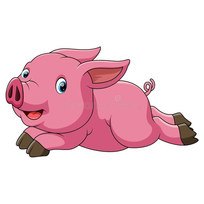 Het gelukkige varken lopen stock illustratie