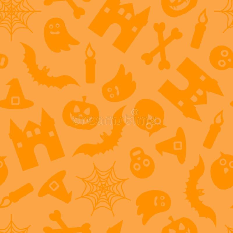 Het gelukkige vector naadloze patroon van Halloween voor achtergrond stock illustratie