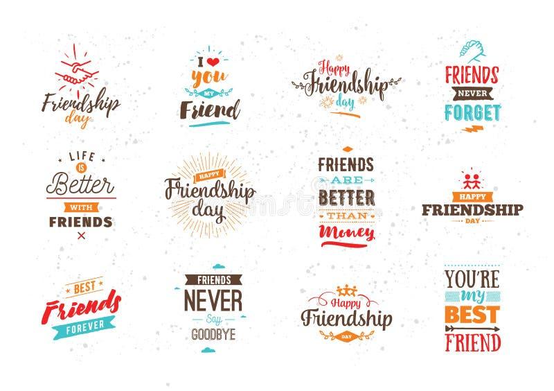Het gelukkige vector typografische ontwerp van de Vriendschapsdag royalty-vrije illustratie