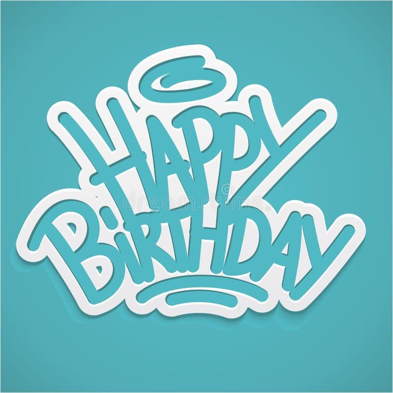 Het gelukkige verjaardagsetiket van letters voorzien vector illustratie