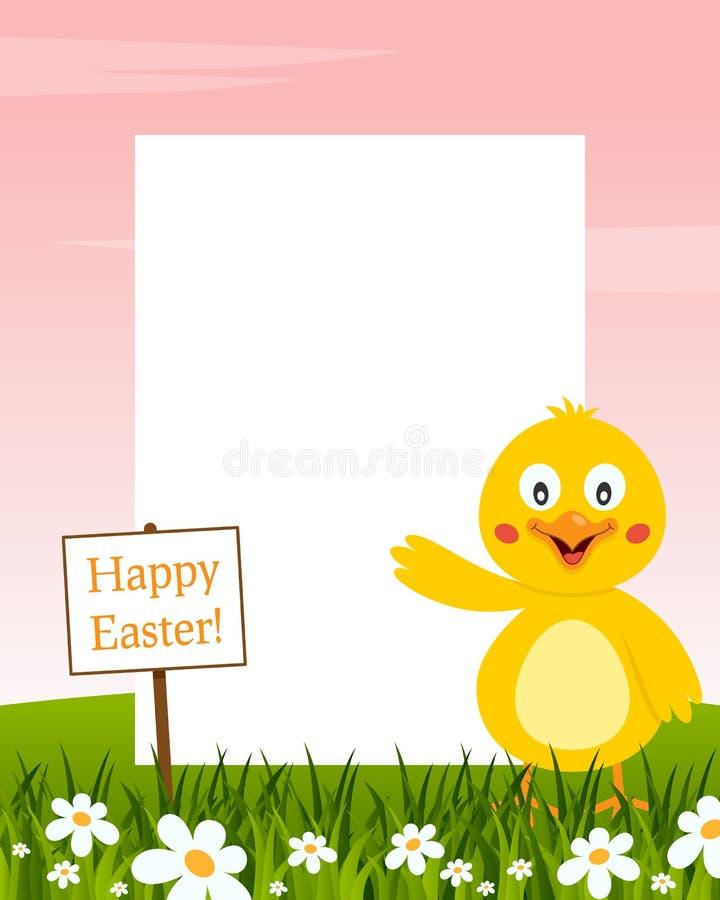 Het gelukkige Verticale Kader van Pasen - Kuiken vector illustratie