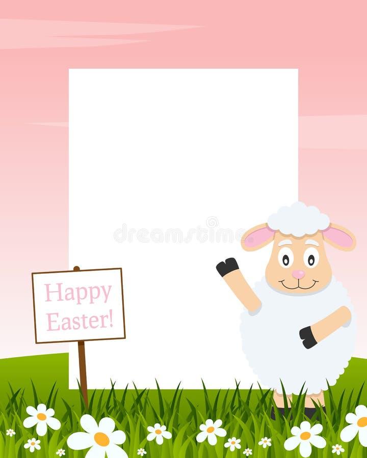Het gelukkige Verticale Kader van Pasen - Lam stock illustratie