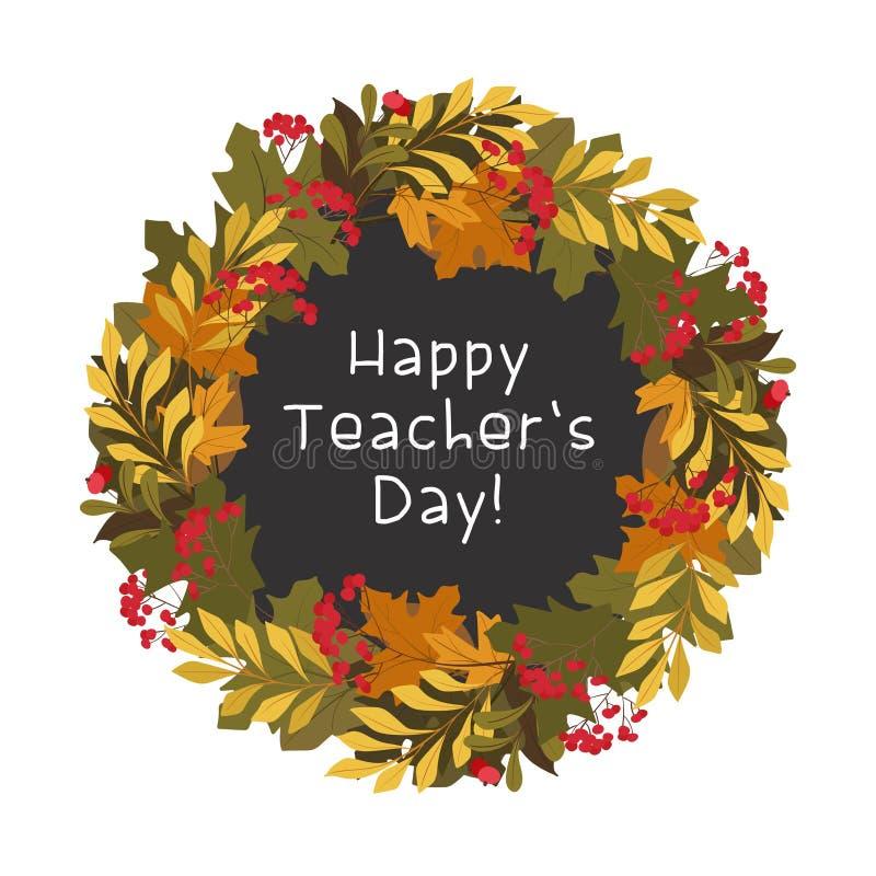 Het gelukkige vlakke vector decoratieve vierkante kader van de lerarendag stock illustratie