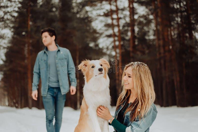Het gelukkige vrolijke glimlachende paar van jongeren in denim past in sneeuwbos in de winter met rode hond border collie aan royalty-vrije stock afbeeldingen