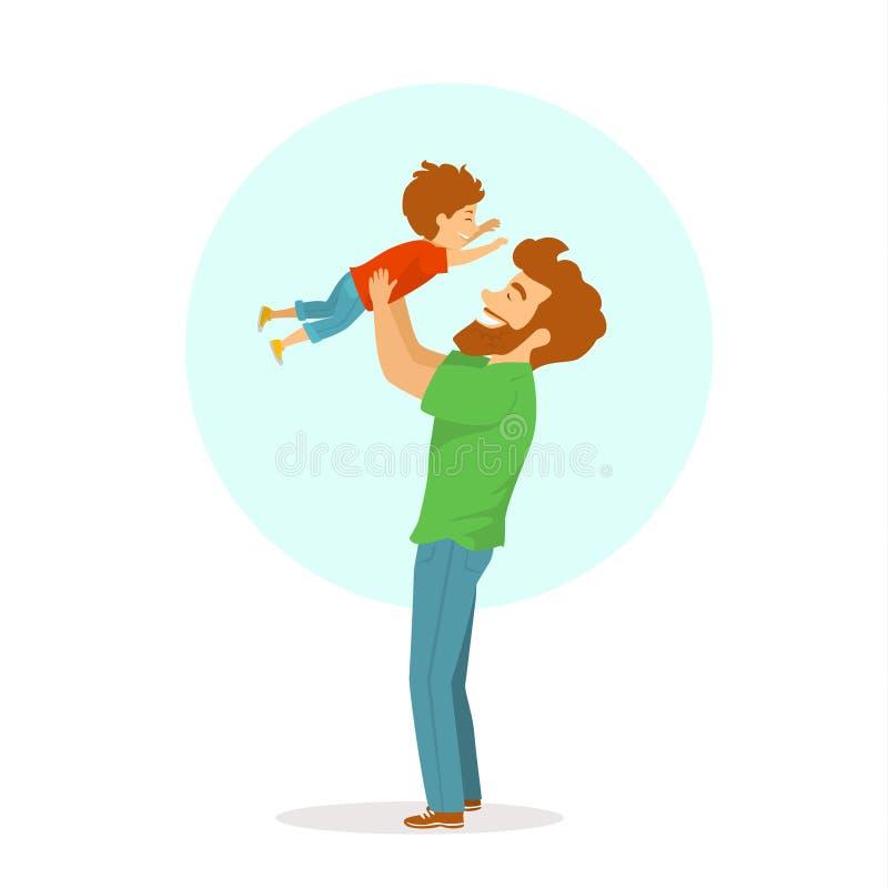 Het gelukkige vrolijke vader en zoons spelen, papa die zijn bol in de lucht, geïsoleerde leuke beeldverhaal vectorillustratie oph vector illustratie