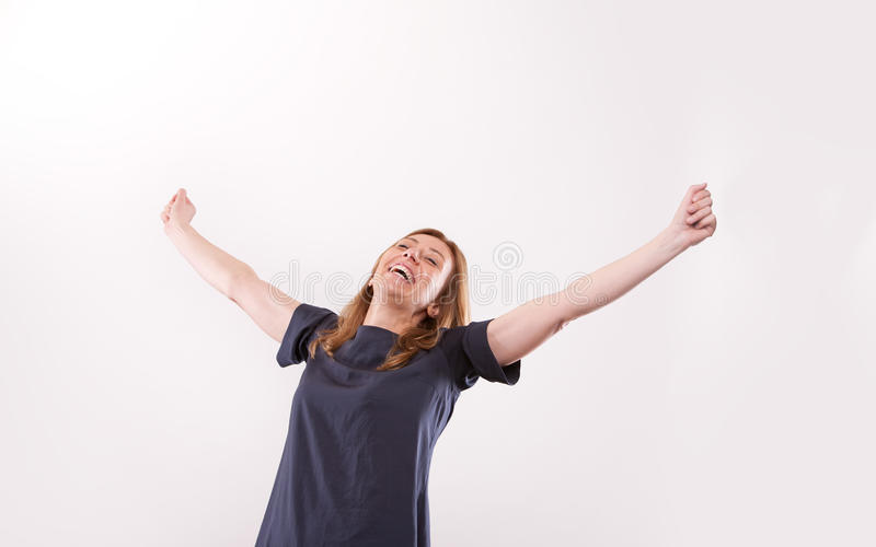 Het gelukkige vrouw o.k. succesvol glimlachen royalty-vrije stock fotografie