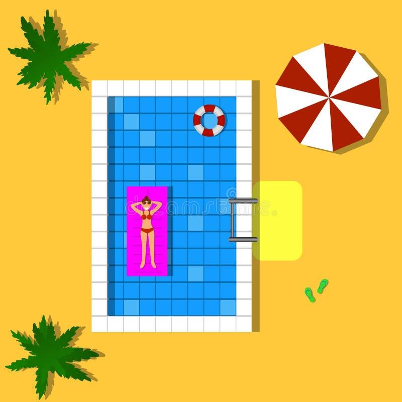 Het gelukkige Vrouw Ontspannen in een Pool Hoogste Weergeven stock illustratie