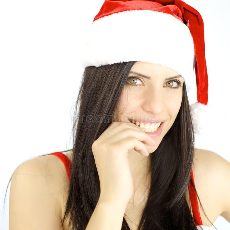 Het gelukkige vrouwelijke Santa Claus-glimlachen klaar voor Kerstmis stock afbeelding