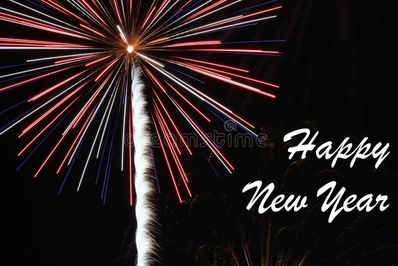 Het gelukkige Vuurwerk van het Nieuwjaar stock fotografie