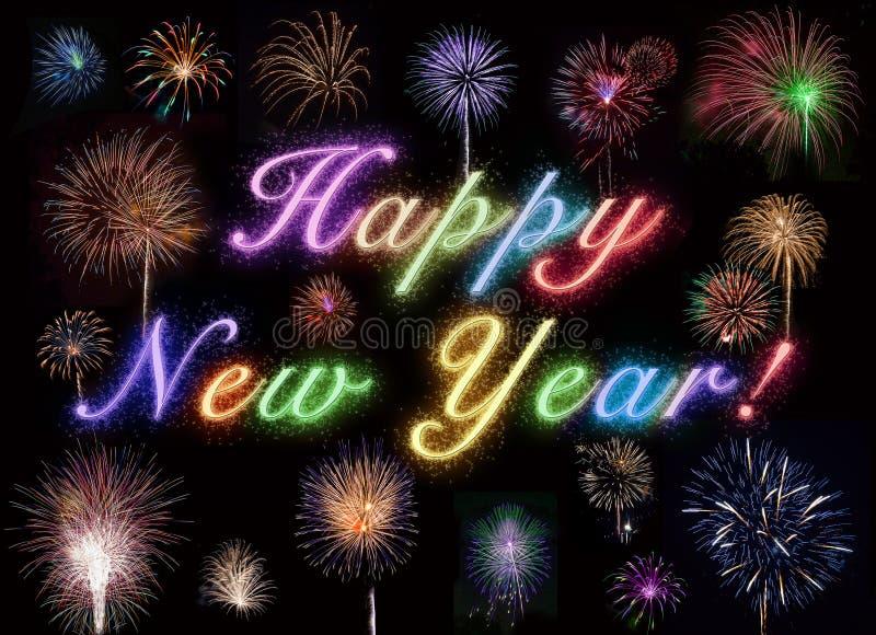 Het gelukkige Vuurwerk van het Nieuwjaar vector illustratie