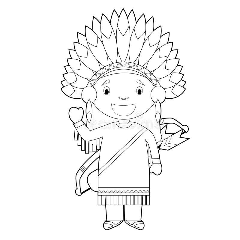 Het gemakkelijke kleurende beeldverhaalkarakter van de V.S. kleedde zich op de traditionele manier van de Amerikaanse Rode Indiër royalty-vrije illustratie
