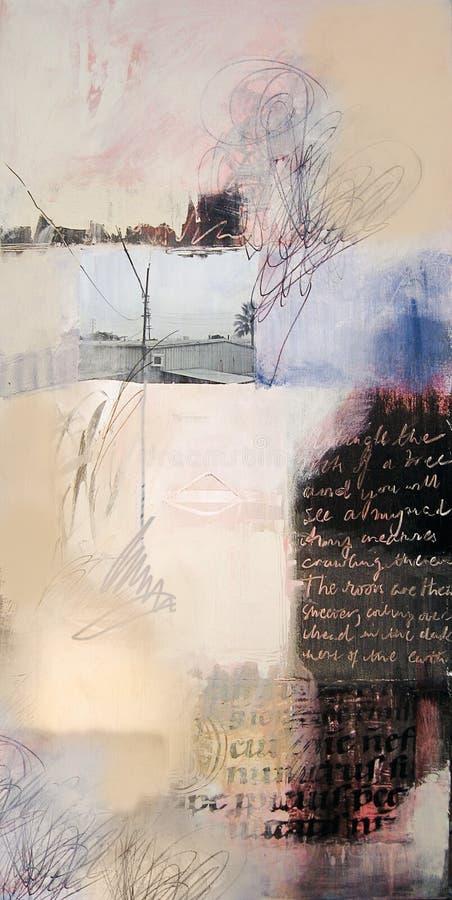 Het gemengde media abstracte schilderen stock foto's