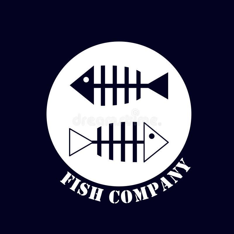 Het gemerkte embleem voor een bedrijf associeerde met vissenproductie vector illustratie