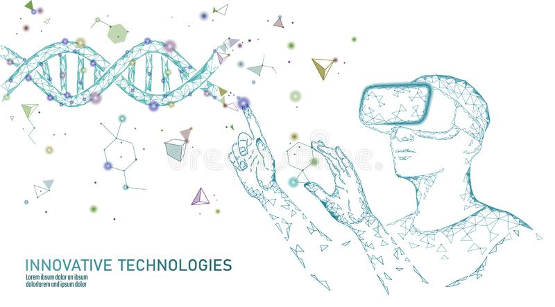 Het gen die van de wetenschapsbiologie concept wijzigen VR virtuele de werkelijkheidsglazen van de hoofdtelefoon holografische pr vector illustratie