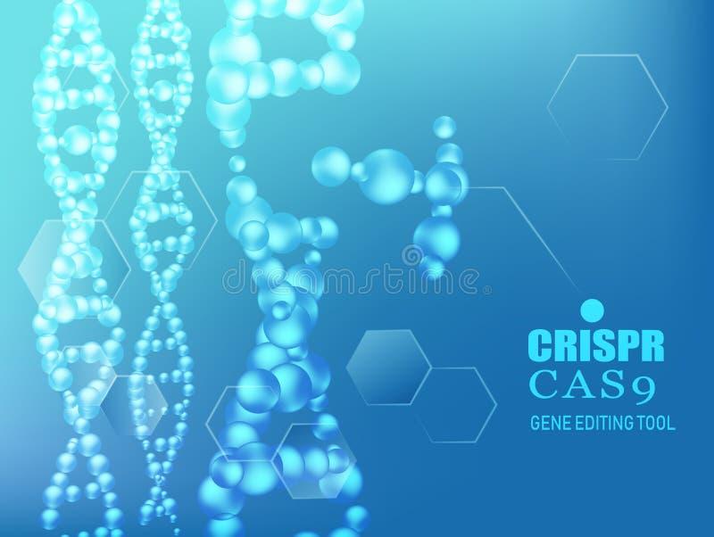 Het gen van CRISPR CAS9 het uitgeven hulpmiddelachtergrond vector illustratie