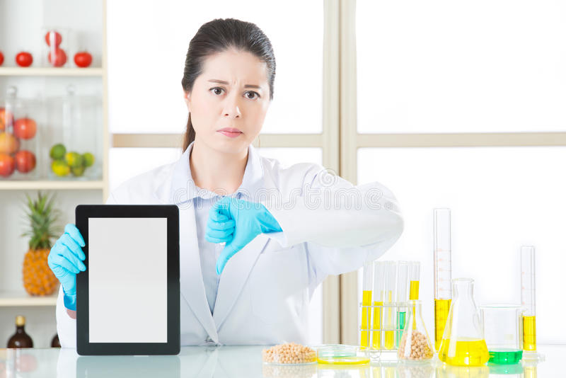 Het genetische modificatievoedsel is slecht voor menselijke gezondheden stock foto