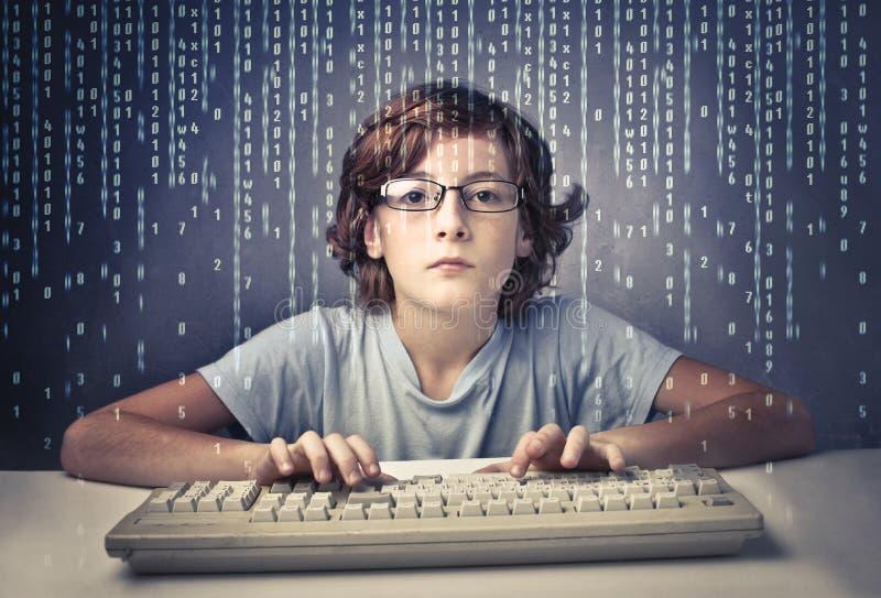 Het genie van de computer stock foto