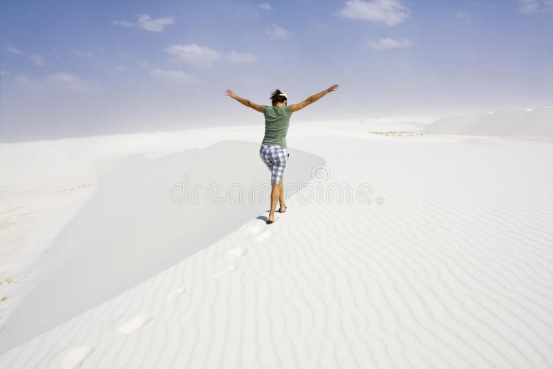 Het genieten van van duinen stock fotografie