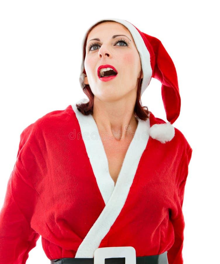 Het genoegenuitdrukking van de Kerstman stock fotografie
