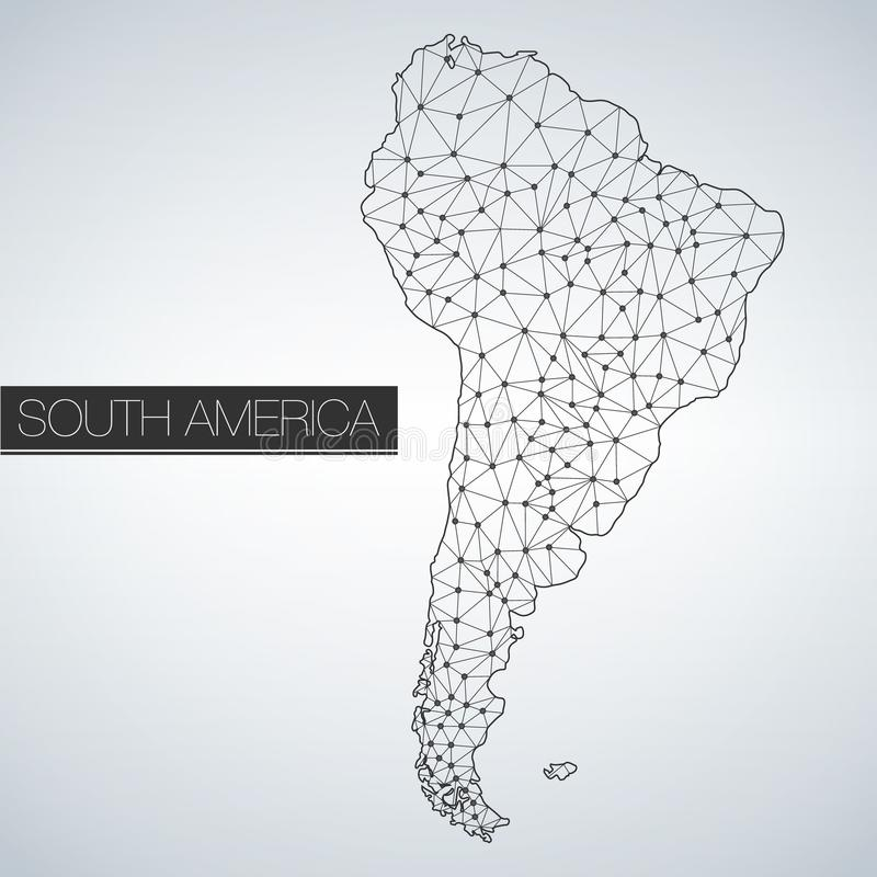 Het geometrische Continent van Zuid-Amerika, Lichte Versie, schoon ontwerp, gemakkelijk om malplaatje aan te passen stock illustratie
